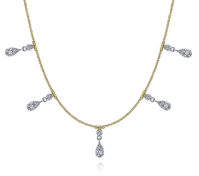 14K Yellow & White Gold Diamond Necklace