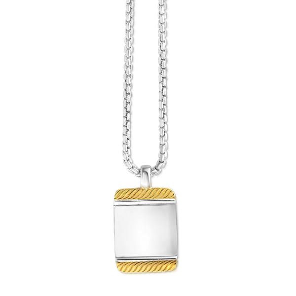 Men's Sterling Silver and Yellow Gold Necklace